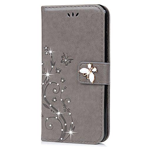 Motiko - Funda para iPhone 8 Plus, iPhone 7 Plus, Piel con Cristales Brillantes, con Cierre magnético, función Atril
