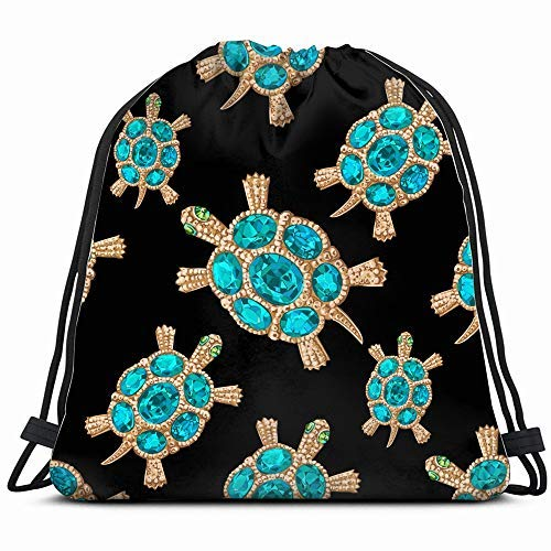 XCNGG Jewelry Form Turtle Blue Stones Beauty Fashion Illustration Drawstring Backpack Bag Sackpack Gym Sack Sport Beach Daypack For Girls Men & Women Teen Dance Bag Cycling Hiking Team Training