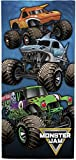 Monster Jam Team Up Kids Bath/Pool/Beach Towel - Features Grave Digger & Megalodon - Super Soft & Absorbent Cotton Towel, Measures 28 x 58 inches (Official Monster Jam Product)
