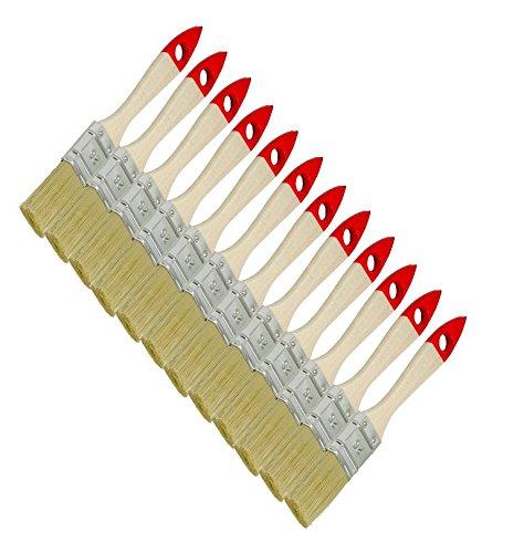 60 Stück Flachpinsel Chinaborste hell 25 mm Lackpinsel Lasurpinsel Maler Pinsel