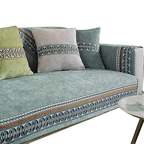 Funda de sofá Bordada para Mascotas,Perros,niños,Alfombrilla de Chenilla,Fundas de sofá Reversibles,Protector de Muebles,Fundas de sofá,Verde,70x150cm