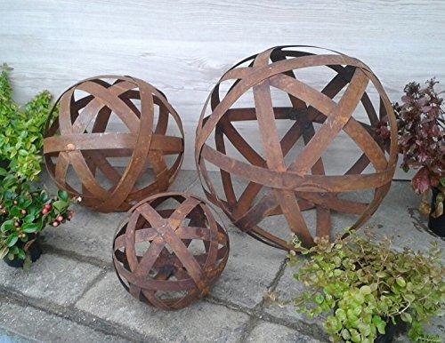 3er-Set, je Kugel 20 + 30 +40 cm aus Metall Edelrost Rost Streifenbandkugel Eisen Deko Garten Streifen