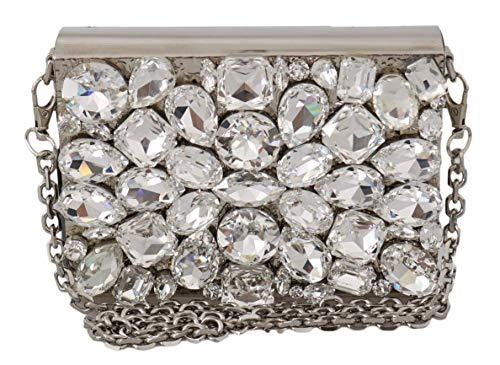 Dolce & Gabbana Damen Tasche Silver Metal Crystal Clutch Purse Cross Body BOX Bag