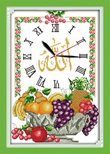 Arte YEESAM® Nueva Kits de punto de cruz avanzada–Reloj de pared islámica (1)–Needlework juego de bordado para regalos de Navidad hecho a mano, Blanco, White Canvas