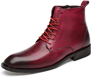 Man brown boots Men's Unfeigned Leather Side Zipper Forgetful Boots for Business Affairs Casual HUANYUNAE