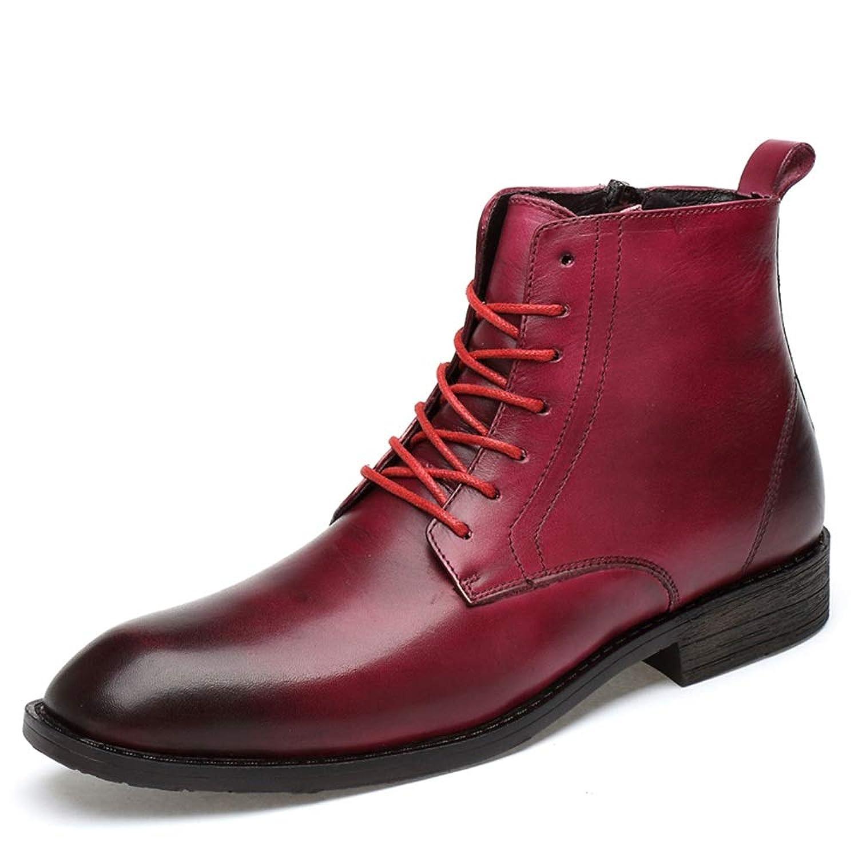 男士革靴 ビジネスカジュアル用メンズショートブーツ本革サイドジッパーショートブーツ 個性な (Color : ワイン, サイズ : 27.5 CM)