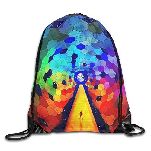 Drawstring Bag Rucksack Drawstring Backpack Rainbow Art for Picnic Gym Sport Beach Yoga Drawstring Sackpack Bag 36X43CM