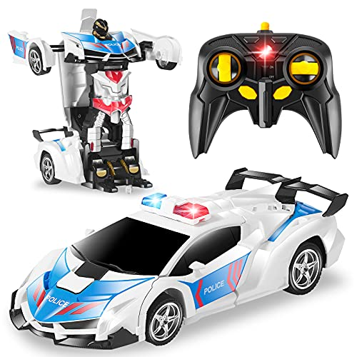 CEGOUFUN 1:18 Scale Transform RC Car Robot for Kids, Remote Control Car with One Button Deformation, 2.4Ghz Remote Control Police Toy Car with 360 Degree Drifting, Great Toys Gift for Boys Girls