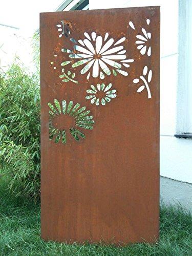 Zen Man Garten Sichtschutz aus Metall Rost Gartenzaun Gartendeko edelrost Sichtschutzwand 031648-4 150 * 75 * 2CM