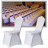 LZQ Stuhlhussen Universell Weiß 50 Stück Stretch Stuhlbezüge, Stuhlbezug für Weiss Stuhlhusse Hochzeit Feiern Geburtstag Dekoration Bankettstuhl