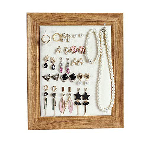 Organizador de joyas – Soporte de madera para pendientes, gran almacenamiento de joyas para colgar, estante montado en la pared para pulsera, collar, anillo reloj y accesorios (marrón) (marrón)