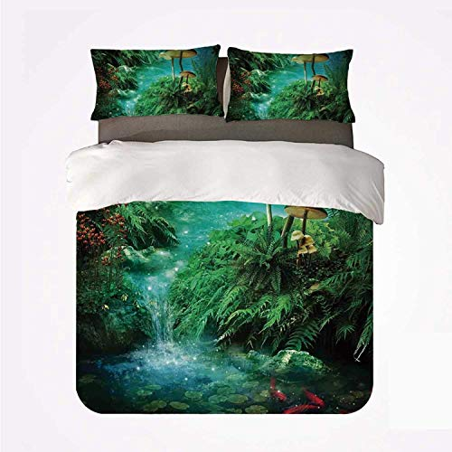 Duvet Cover Set Fantasy Decor Nice 3 Bedding Set,View of Fantasy River with a Pond Fish and Mushroom in Jungle Trees Moss Eden for livingroom