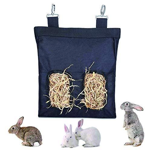 Bolsa Heno, Bolsa Heno para Animales Pequeños, Bolsa Heno Conejo, Bolsa Heno Colgante, Comedero Heno para Mascotas, para Conejo Conejillo Indias Hamsters Essential Food Sack (2 Aberturas) (Negro)