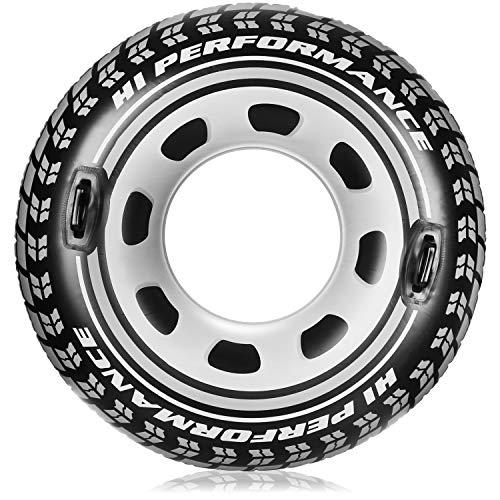 com-four® Aufblasbarer Schwimmreifen im Reifen Design - großer Schwimmring mit Haltegriffen, für Kinder und Erwachsene, Monstertruck-Reifen zum Aufblasen (Reifen mit Griffen)