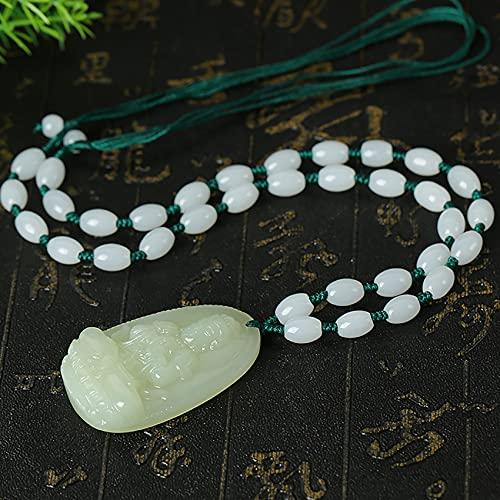 Cosaike Feng Shui curativo Jade Collar hetiano nefrita Afortunado Buddha Encanto patrón Saint Balance Collar Jade Cuentas Cadena Trenzado Amuleto atraer Prosperidad Amor Suerte Dinero,Small