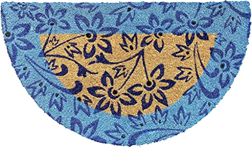 EUROSTYLE Felpudo Art. Kera de fibra de coco estampado con fantasía alfombra entrada casa seca paso con parte trasera de PVC antideslizante Doormat (40 x 70 cm, media luna, floral azul)