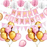 Happy Birthday Banner with Paper Fans, Pink And White Tissue Pom Poms Flowers, Triangular Pentagram Garland, Rose Gold Balloons Happy Birthday Decorations Supplies for Women, Girls, Kids
