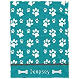 Personalized Dog Blankets with Name Custom Dog Blanket Paws Name and Bones,Gift for Birthdays, Holidays, Travel and New Pet Homecomings