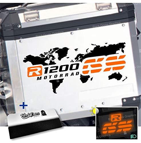 2 adhesivos bicolores para maletas laterales compatibles con R 1200 GS y ADVENTURE mapa Touratech Givi R1200GS R1200 (negro-naranja)