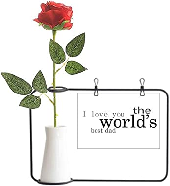 Beauty Gift Love World's Best Dad Festival Quote Artificial Rose Flower Hanging Vases Decoration Bottle