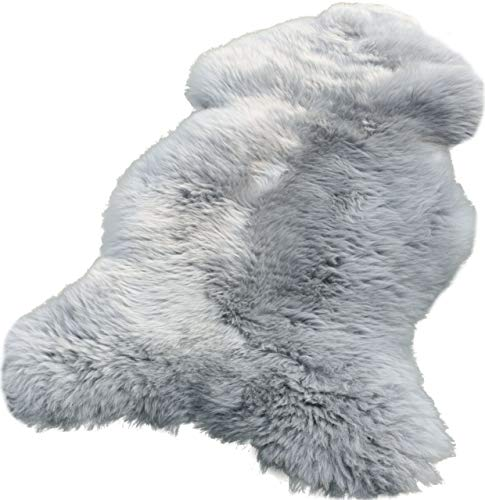 Zaloop Lammfell Schaffell Silber grau echtes Fell ca. 100-110 cm