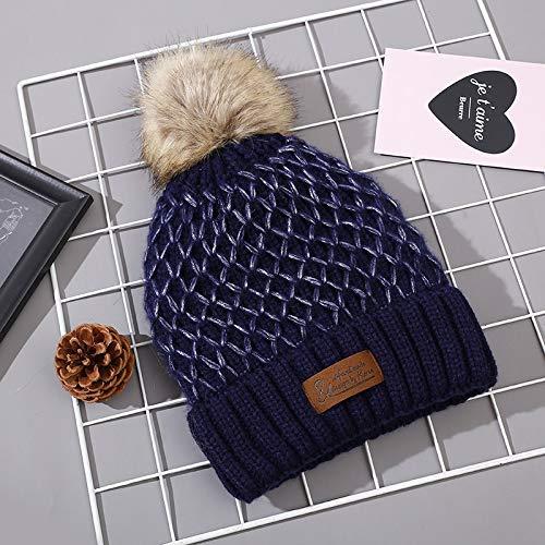Xme Neue kreative Wollmütze aus Pelzkugelnetz, warme Strickmütze aus Herbst und Winter sowie Samtpullover, Outdoor-Mütze für Damenmode