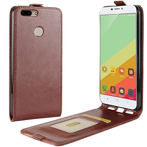 HualuBro Oukitel U20 Plus Hülle, Premium PU Leder Leather HandyHülle Tasche Schutzhülle Flip Hülle Cover für Oukitel U20 Plus Smartphone (Braun)