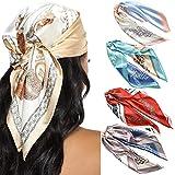 23.6 Inches Satin Head Scarves for Women 4PCS Square Silk Like Hair Scarves Silk Hair Bandanas (Multicolor #1)