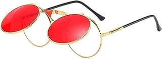Retro Round 80's Flip Up Steampunk Sunglasses Mirror Vintage Circle Sun Glasses Eyewear for Men Women