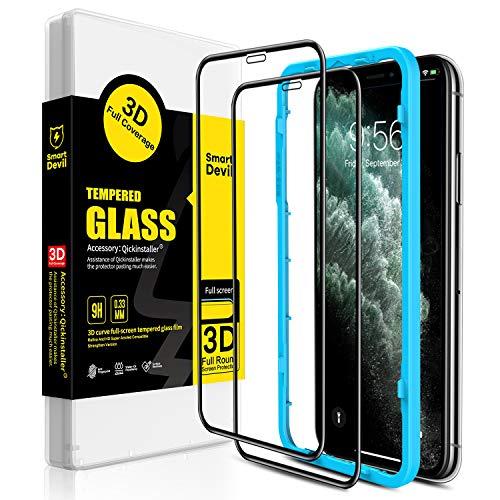 SmartDevil [2 Pack Protector Pantalla de iPhone 11 Pro/iPhone XS/X,Cristal Templado,Vidrio Templado [Fácil de Instalar] [3D Borde Redondo] [Garantía de por Vida] para iPhone 11 Pro/iPhone XS/X