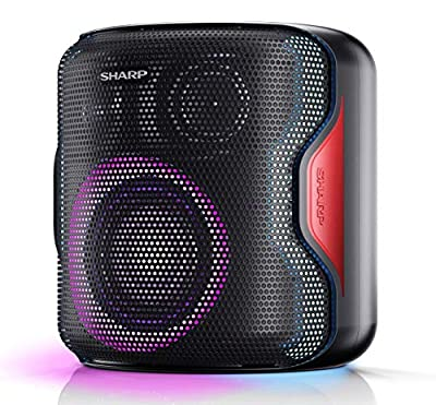 Sharp PS-919(BK) 130W Indoor/Outdoor Portable Party Speaker with Built-inRechargeable Lithium-Ion Battery (up to 14 hrs), Flashing Disco Lights,Bluetooth and TWS (True Wireless Stereo) - Black by Sharp