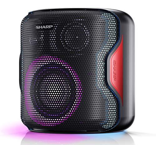 SHARP PS-919 (BK) Partylautsprecher, 14 Stunden Wiedergabezeit, Bluetooth, TWS: Koppeln eines weiteren Gerätes, Multicolor-Lichtshow mit verschiedenen Modi, Ultra-Bass-Einstellung, 130 Watt, schwarz