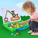YSSWJ Ysswjzz Botón Juguete Arte for Niños, Seta Nails botón del Arte Puzzle Juego, 296 en 1 / Set de la Primera Infancia Educativo Creativo DIY Juguetes Rompecabezas de Juego de Las Muchachas