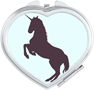 DIYthinker Black Silhouette Legs Erect Unicorns Heart Compact Makeup Mirror Portable Cute Hand Pocket Mirrors Multicolor