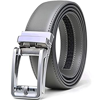 Men s Leather Ratchet Click Belt Dress with Slide Buckle -Adjustable Trim to Fit  28 -42  Waist Adjustable Square Chrome Buckle W Grey/Gray Leather