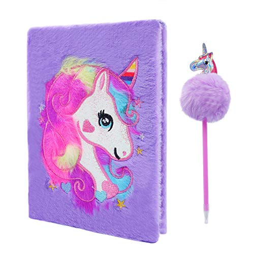 Cyiecw Plüsch Einhorn Notizbuch, Magisches Tagebuch für Mädchen Schönes Einhorn Flauschiges Notizbuch 160 Seiten zum Schreiben und Zeichnen Geburtstag für Mädchen (Lila)