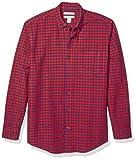 Amazon Essentials Men's Regular-Fit Gingham Long-Sleeve Pocket Oxford Shirt, Red/Navy, Medium