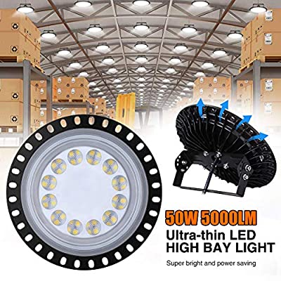 TOHUU 50W UFO LED High Bay Light lamp LED Warehouse Lighting 5000LM 6000-6500K Factory Industrial Lighting High Bay LED Lights Commercial Bay Lighting for Garage Factory Workshop Gym(1PCS)