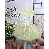 子犬犬のプリンセスドレス、犬の花嫁衣装三次元花の装飾ヘアクリップ付き適切な結婚式の写真撮影祭誕生日パーティー,S