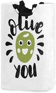 COFEIYISI Grand Organiser Paniers pour Vêtements Stockage,Olive vous expression calligraphique avec un visage souriant drô...