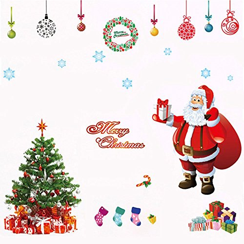 Deggodech DIY Weihnachten Wand Tattoo Wanddeko Abnehmbare Weiß Weihnachtsbaum Wandaufkleber mit Elch für Weihnachts Fenster Sticker Dekoration (Rot)