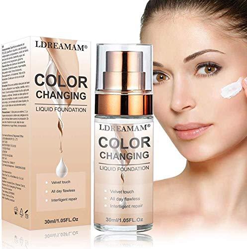 Flüssiges Make-Up,Flüssige Grundierung,Concealer-Abdeckung,Langlebige flüssige Grundierung,Make-up-Basis,Makellose Farbwechselgrundierung 30ML