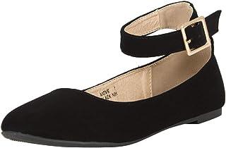 e2cbba86ec7478 Bella Marie Womens Round Toe Buckle Ankle Strap Classic Ballet Flat  Ballerina Shoes