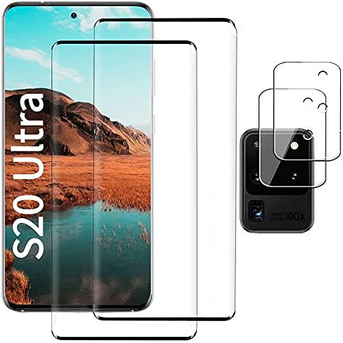 [2+2 Pack] Panzerglas Schutzfolie für Galaxy S20 Ultra, Linse Schutzfolie, Fingerabdrucksensor Kompatible, 3D Vollständige Abdeckung, Bildschirmschutz für Samsung Galaxy S20 Ultra