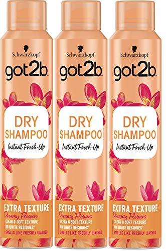 Got2b - Champú Seco Textura Extra - 3uds de 200ml (600ml) – Refresca tu cabello al instante – Óptimo para peinados
