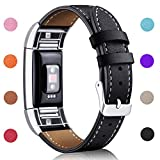 Hotodeal Replacement Leather Band Compatible for Charge 2, Classic Genuine Leather Wristband Metal Connector Watch Bands, Fitness Strap Women Men Small Large (Black- Silver Buckle)