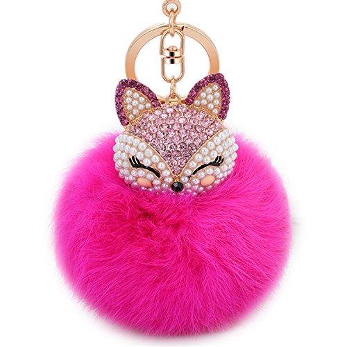 Boseen Boule de fourrure de lapin avec Fox artificiel Tête incrustation Perle Strass Porte-clés pour femme Sac ou téléphone portable ou de voiture Pendentif (Bleu), rose rouge