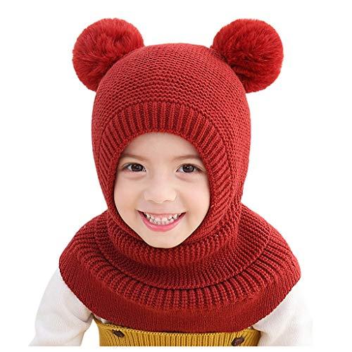 Youmymine Newborn Kids Baby Boy Girl Pompon Hat Scarf Winter Warm Knit Hooded Crochet Beanie Cap (2-6 Years, Red)