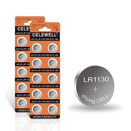 【5-Year Warranty】CELEWELL LR1130 AG10 Battery 1.5V Alkaline Button Cell for Watch Toy 20 Pack