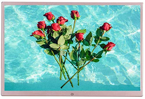 Cornice digitale Cornice per foto digitali elettroniche da 15 pollici, 1280x800 Full HD 16:10 IPS Display Player pubblicitario elettronico ultrasottile, rosa / argento .Cornice fotografica digitale in
